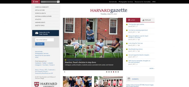 Harvard University Gazette